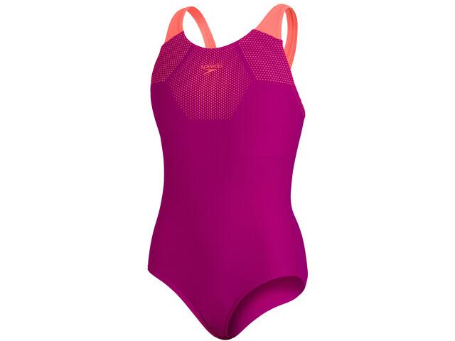 speedo Tech Placement Muscleback Swimsuit Girls diva/fluo tangerine